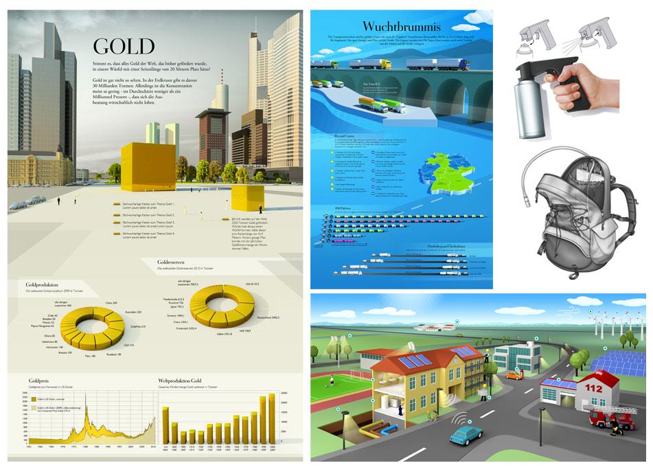 Info-Grafik Portfolio für Magazine und Verpackung mit 5 Illustrations Beispielen