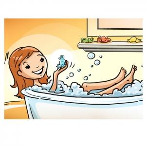 Erklärfilm, Seifen-Geschenk.de, Frau in Badewanne mit Seife in der Hand