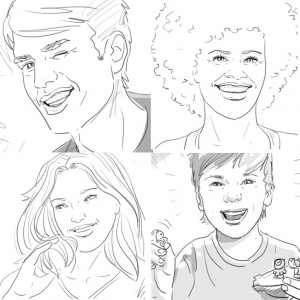 Illustration, Storyboard, vier Köpfe