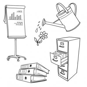 handgezeichnete Illustrationen Büro